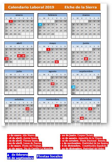 Calendario Laboral Elche.Ayto De Elche De La Sierra